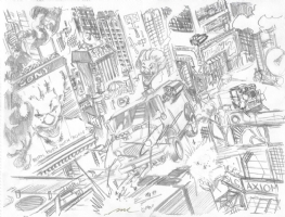 Twisted Metal 4 - Game Scene B Prelim Comic Art