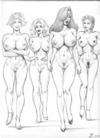 Four babes Comic Art