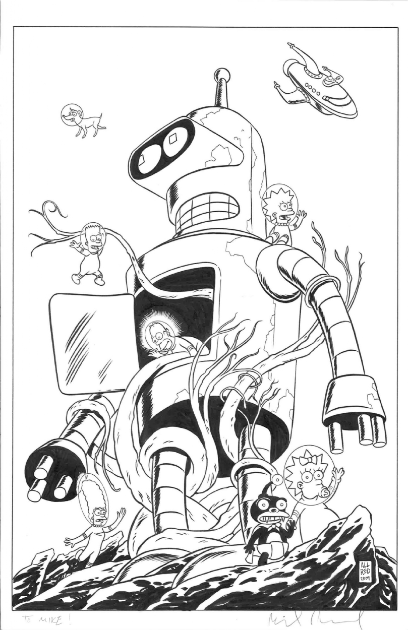 Treehouse-Arama from Simpsons/Futurama Crossover Crisis Trade by Mike Allred Comic Art