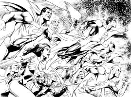 JUSTICE LEAGUE (BATMAN, SUPERMAN, WONDER WOMAN, FLASH, GREEN LANTERN, GREEN ARROW, THE ATOM, MARTINA MANHUNTER) Comic Art