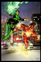 Flash & Green Lantern (Oscar Jimenez) Comic Art