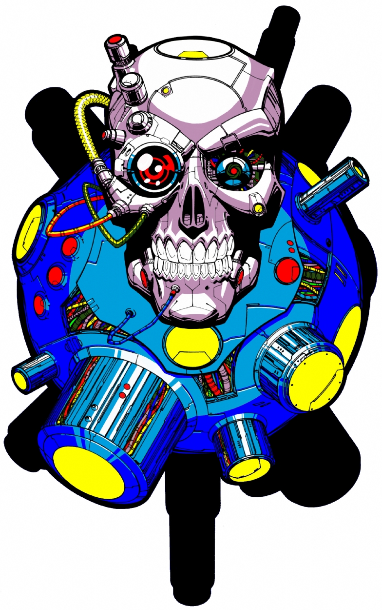 Black Label Terminator Skull Comic Art