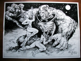 Giant Ape and Space Girl Comic Art