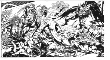 Marvel and DC's wraparound cover for Wizard  Comic Art