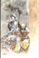 Jim Lee's Wolverine and Psylocke Painting Comic Art