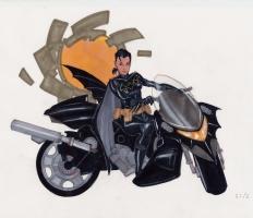Cassandra Caine (Batgirl) Motorcycle Comic Art