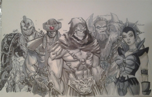 The Original 5 - Heman Villains Jam (Alex Ross Homage) Final Comic Art