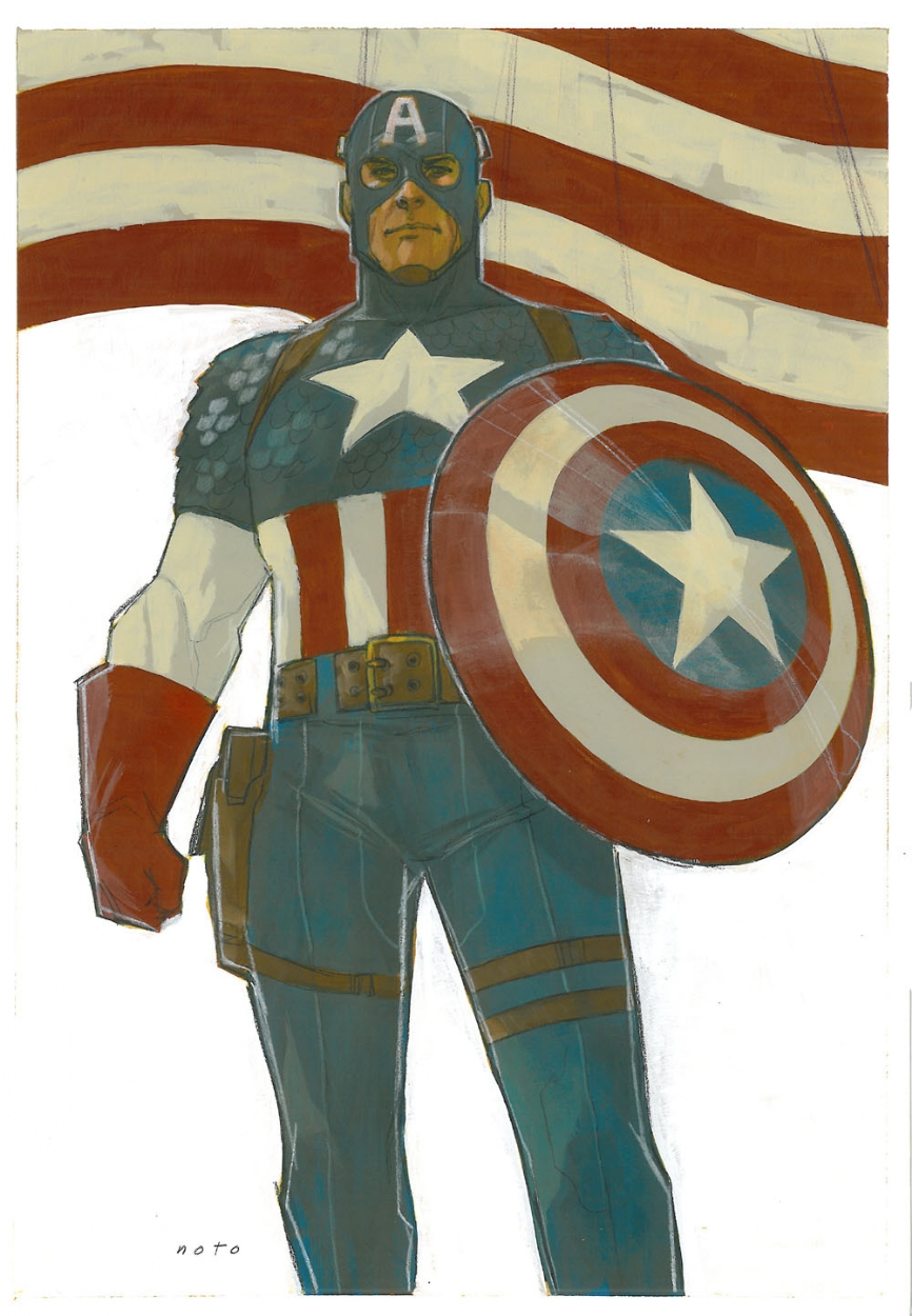 Noto Captain America painting Comic Art
