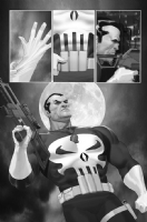 Punisher War Journal #1, Pg 22 By Ariel Olivetti - Black & White Comic Art