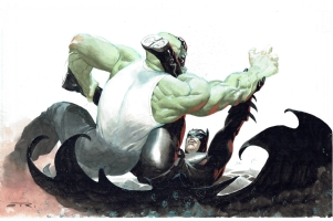Batman & Killer Croc by Esad Ribic Comic Art