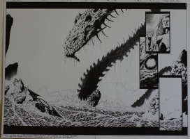 PHILIP TAN / WALDEN WONG original art, GODSLAYER #6 pgs 18-19,22 x 17 , Lg Splash, Double page, Dragon / Serpent Comic Art