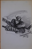 PHILLIPS original art, Blazing Combat / war Illustration, 11 x 17, 1992, Fighter  Comic Art