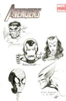 AVENGERS HEAD SKETCHES (A) SIGNED SINNOTT TEXEIRA ORSAK WIACEK ST.PIERRE, Comic Art
