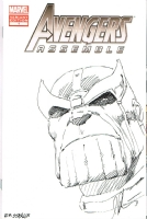 MARVEL COMICS THANOS ORIGINAL ART SKETCH COVER JIM STARLIN SIGNED!, Comic Art