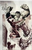 HULK vs. DAREDEVIL Lee Weeks 13 x 19 Color Print SIGNED!  Inkwell Awards Comic Art
