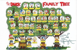 'DUCK FAMILY TREE' COLOR PRINT SIGNED DON ROSA! Comic Art