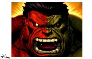 MARVEL COMICS RED HULK/HULK PRINT ED MCGUINNESS SIGNED!, Comic Art