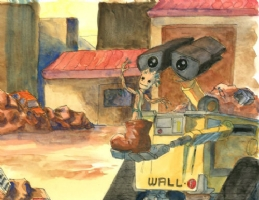 GROOT & WALL-E PAINTED ORIGINAL ART SIGNED GRIFFIN ESS, Comic Art