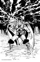 Thor inked by Charles Barnett III Comic Art