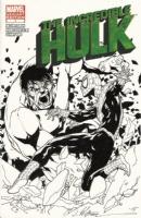 Spider-Man and Hulk original inked art sketch cover Jim Calafiore signed, Comic Art