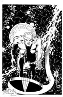 Silver Surfer inked by Charles Barnett lll Comic Art