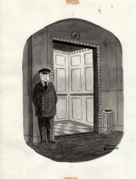 ADDAMS, CHARLES - New Yorker cartoon, Addams Family style Bellman with elevator buttons, 1977 Comic Art