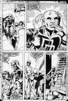MIGNOLA, MIKE / JOHNSON - Daredevil #197 pg, DD & 1st Yuriko / Lady Deathstrike w/ Bullseye in blue pencil Comic Art