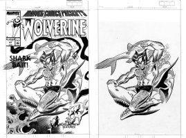ROMITA SR, JOHN - Marvel Comics Presents #41 Front Ink Cover, Wolverine & Shark - w/ & w/o prod. overlay 1989 Comic Art