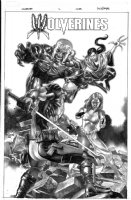 SUAYAN, MICO - Wolverines #1 Hastings variant B&W painted cover - Deadpool vs Mystique Sabertooth Lady Deathstrike! Comic Art