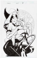 YU, LEINIL - X-Men #207 pg 3 Splash, g Nightcrawler & Cerise make out Comic Art