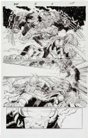 ROMITA, JOHN JR - Avengers vs X-Men #5 splashy pg 6, Wolverine vs Cyclops over Hope Summers Comic Art