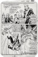 ADAMS, ART - Longshot #4 last pg, half-splash, LS & costumed kids vs  monster Gog Comic Art