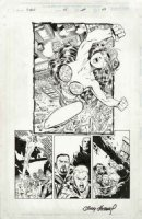 KUBERT, ANDY - X-Men #45 Splashy pg 19, large Rogue flies in cutoffs & bustiere Comic Art