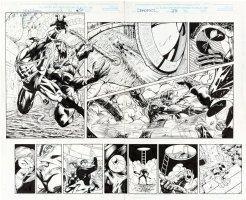 McDANIEL, WALTER - Deadpool #23 Double-pg Spread 32-33, DP vs UFO / Alien 1998 Comic Art