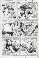 BUCKLER, RICH / BOB McLEOD - Spectacular Spiderman #119 pg 20, Black Spidey, Black Cat vs Sabertooth Comic Art