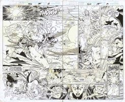 CRUZ, ROGER / TIM TOWNSEND - Uncanny X-Men #320 double pg spread, Legion Quest #1, Storn & Legion Comic Art