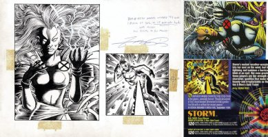 PEREZ, GEORGE - Storm - X-Men Marvel Universe '94 Card Front & Back Comic Art
