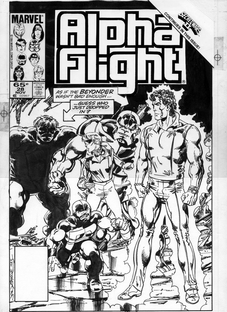 BYRNE, JOHN - Alpha Flight #22 cover Hulk and Secret Wars 2 cross-over Comic Art