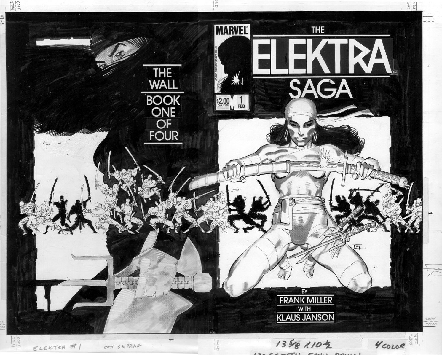 MILLER, FRANK - The Elektra Saga #1 wraparound cover - 1st Electra starring cover , with new story - 1983 Comic Art