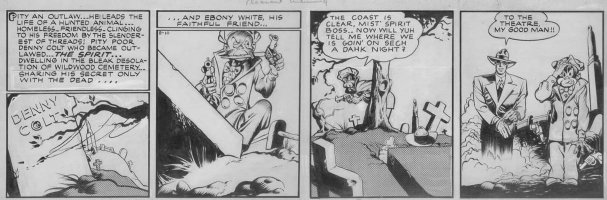 EISNER, WILL / LOU FINE inks - Spirit daily 8/10 1942 - Spirit at Wildwood cemetery/ Denny Colt grave - 1st daily of Dr Future story  Comic Art