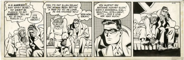 FINE, LOU pencils / Robin King inks - Spirit daily 2/23 1944 - Spirit to marry Ellen?, Ebony Comic Art