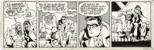 COLE, JACK inks over LOU FINE - Spirit daily 2/23 1944, Spirit & Ebony discuss Ellen & marriage Comic Art