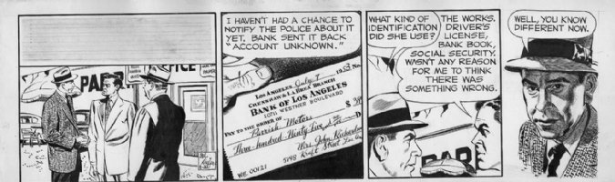 KEEFER, MEL - Dragnet daily 4/26 1954? Friday & bad check Comic Art
