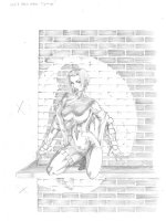 Marvel Overpower Fleer - Black Widow on wall - finished pencils Comic Art