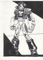 Marvel Overpower Fleer - X-Men's Thunderbird II Comic Art