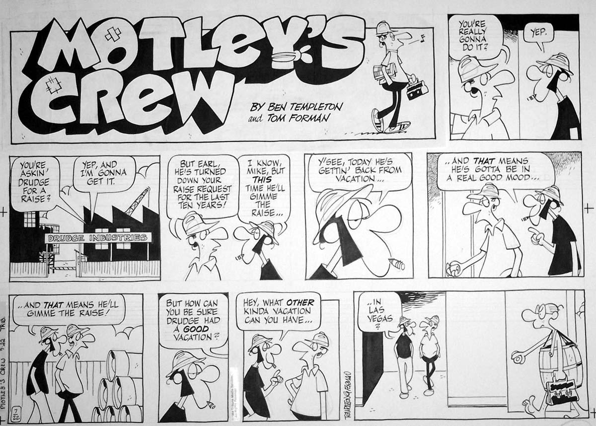 TEMPLETON and FORMAN - Motley's Crew sunday 7-22-84 Comic Art
