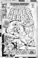 EVERETT, BILL / ROSS ANDRU - Amazing Spiderman-Marvel Superheroes #14 2up cover Comic Art