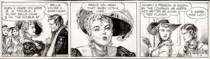 SALINAS, JOSE LUIS - Cisco Kid daily, Cisco- one kiss and three babes! 5/9 1952 Comic Art