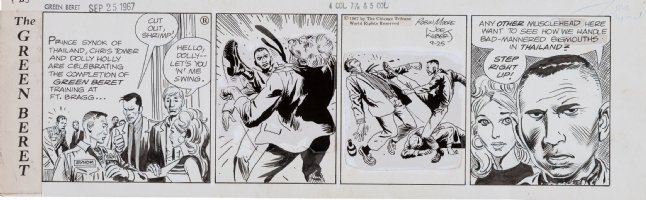 KUBERT, JOE - Tales of the Green Beret daily. 9/25 1967, Prince kicks to save blonde Comic Art