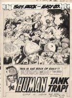 KUBERT, JOE - Our Army At War #156 2-up pg 1 Splash, Sgt Rock battle & intro, Human Tank Trap 1965 Comic Art